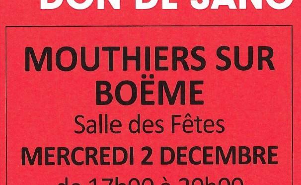 Don du sang – Mercredi 2 décembre – Salle Gilles Ploquin
