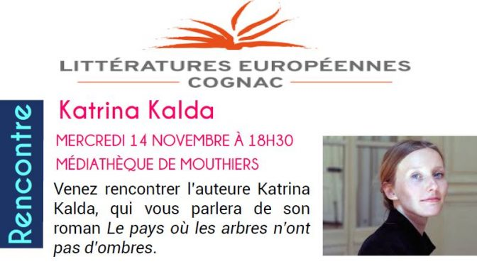 MERCREDI 14 NOVEMBRE À 18H30 MÉDIATHÈQUE- Rencontre avec Katrina Kalda